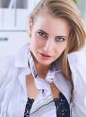 Sexy Secretary In Glasses Undress In Office, Flirt And Desire poster