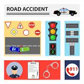 Road Accident. The Concept Of Rectangles With Elements Of Road Accidents. Flat Design, Vector Illust poster