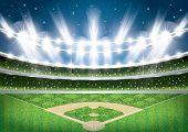 Baseball Stadium with Neon Lights. Arena.  poster