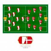 Football Match Peru Versus Denmark. Peru Preferred System Lineup 4-2-3-1, Denmark Preferred System L poster