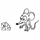 Cartoon Mouse Reaches For A Piece Of Cheese. Mouse And Cheese. Vector Illustration. poster