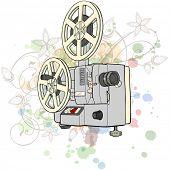 Постер, плакат: Ретро кинопроектор & цветочные каллиграфии орнамент стилизованный Орхидея цвет краски фона Би