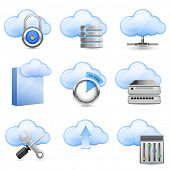 Cloud Hosting Icons. Vector Illustration