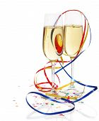 Champagne In Two Glasses With Streamers