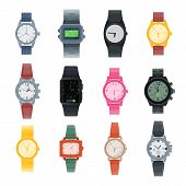 Watch Vector Business Wristwatch Or Fashion Wrist Clock With Clockwork And Clockface Clocked In Time poster