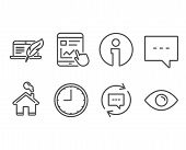 Set Of Time, Blog And Update Comments Icons. Internet Report, Copyright Laptop And Eye Signs. Office poster
