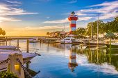 Hilton Head, South Carolina, lighthouse at dusk. poster