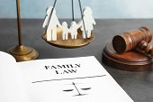 Family Figure, Scales Of Justice, Gavel And Book With Words Family Law On Table, Closeup poster