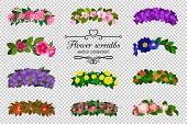 Flower Wreaths Set. Spring Flowers Wreath Set Isolated On Transparent Background, Colorful Springtim poster