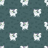 Seamless Pattern With Little Cute Cartoon Pretty White Cats. Childish Kitty Texture. Vector Illustra poster