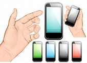 Hand holding mobile phone. Vector illustration. All main elements are on separate layers and can be