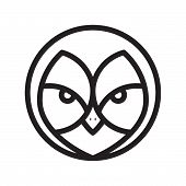 Face Owl In Line Graphic Style Icon Vector In Modern Flat. Graphic Line Face Owl Icon Vector Isolate poster