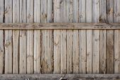 Close-up Of Vertical Simple Oak Wooden Fence Background.  Old Knotted Timber Wall. Vintage Rustic Pa poster