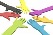 Colorful hands in a circle with clipping path
