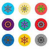 Vector Icon Illustration Logo For Set Symbols Steering Wheel From The Ship For Travel. Steering Patt poster