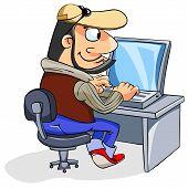 happy man using a laptop