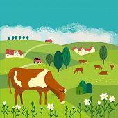 Nature Outdoor Valley Landscape. Colorful Cartoon. Farming Herd Of Brown Cows On Meadow. Rural Commu poster