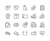 Simple Set Of Fitness Related Vector Line Icons. Contains Such Icons As Workout, Sleep, Diet Plan, S poster