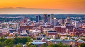 Birmingham, Alabama, USA downtown skyline from above at dusk. poster