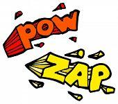cartoon pow zap sign symbol