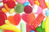 closeup of a pile of candies with different shapes and colors