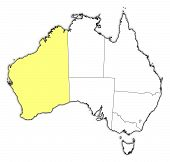 pic of australie  - Political map of Australia with the several states where Western Australie is highlighted - JPG