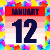 January 12 Icon. For Planning Important Day. Banner For Holidays And Special Days. Twelfth Of Januar poster