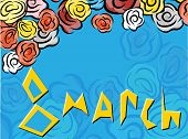 8 March For Celebration Decoration Design. International 8 March. Vector Illustration Art. Red Rose. poster