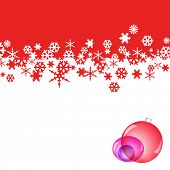 red and white background with snowflakes and christmas balls