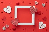 Lovely Frame Background, Valentines Day Background. Love Hearts, Candys, Flat Lay, Top View, Copy Sp poster
