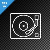 White Line Vinyl Player With A Vinyl Disk Icon Isolated On Transparent Dark Background. Vector Illus poster