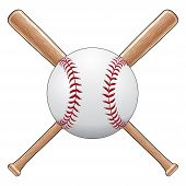 image of softball  - Illustration of a baseball or softball with two crossed wooden bats - JPG