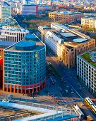 Aerial View On Modern Building Architecture And Road Potsdamer Platz Reflex poster