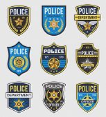 Police Badges. Officer Government Badge, Special Police Security Medallion And Federal Agent Signs,  poster