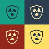 Color Radioactive In Shield Icon Isolated On Color Background. Radioactive Toxic Symbol. Radiation H poster
