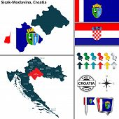 Vector Map Of Sisak Moslavina And Location On Croatian Map poster