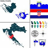 Vector Map Of Zadar And Location On Croatian Map poster