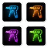 Glowing Neon Electric Hot Glue Gun Icon Isolated On White Background. Hot Pistol Glue. Hot Repair Wo poster