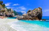 Italian summer holidays - Monterosso al Mare with beautiful beaches, Liguria poster