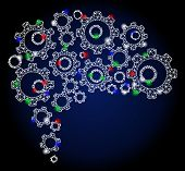Glossy White Mesh Gear Brain With Glare Effect. Abstract Illuminated Model Of Gear Brain. Shiny Wire poster