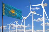 Kazakhstan Alternative Energy, Wind Energy Industrial Concept With Windmills And Flag - Alternative  poster