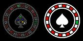 Glossy Mesh Casino Roulette Icon With Glow Effect. Abstract Illuminated Model Of Casino Roulette. Sh poster