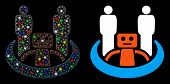 Glowing Mesh Robot Union Icon With Lightspot Effect. Abstract Illuminated Model Of Robot Union. Shin poster