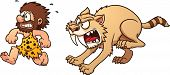 stock photo of saber tooth tiger  - Cartoon caveman running away from sabertooth - JPG