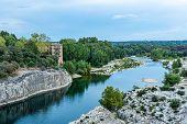 Gardon River Beneath Pont Du Gard, Nimes, France poster