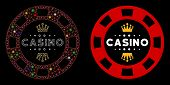Glossy Mesh Royal Casino Chip Icon With Lightspot Effect. Abstract Illuminated Model Of Royal Casino poster