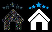 Glowing Mesh Apartment Stars Icon With Glow Effect. Abstract Illuminated Model Of Apartment Stars. S poster
