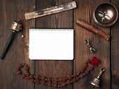 Copper Singing Bowl, Prayer Beads, Prayer Drum And Other Tibetan Religious Objects For Meditation An poster