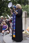 NEW YORK - JUNE 22: The Reverend Moshay Moses speaks to an audience of supporters in Washington Squa