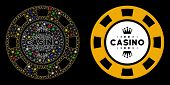 Flare Mesh Royal Casino Chip Icon With Sparkle Effect. Abstract Illuminated Model Of Royal Casino Ch poster